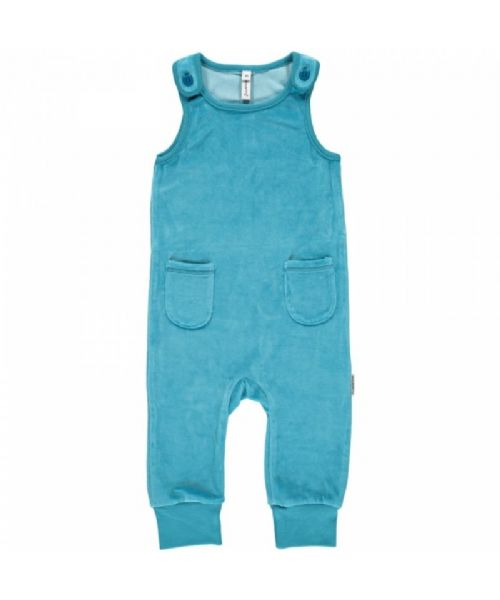 Maxomorra Playsuit Velour Petrol Blue (56 only)